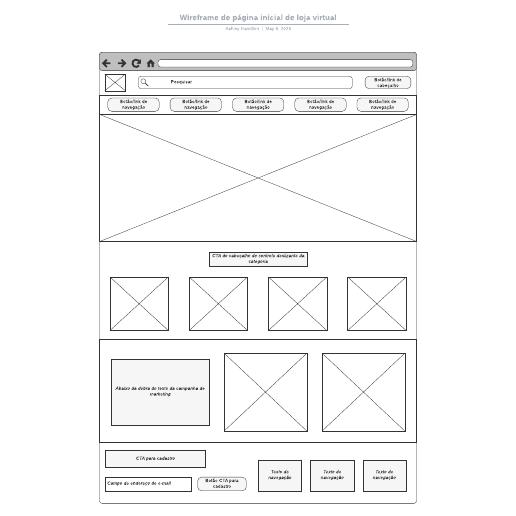 Wireframe de página inicial de loja virtual