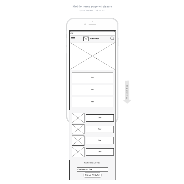 Mobile home page wireframe