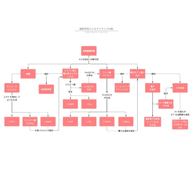 細胞呼吸コンセプトマップの例