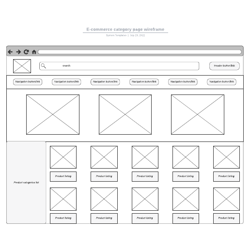 E-commerce category page wireframe
