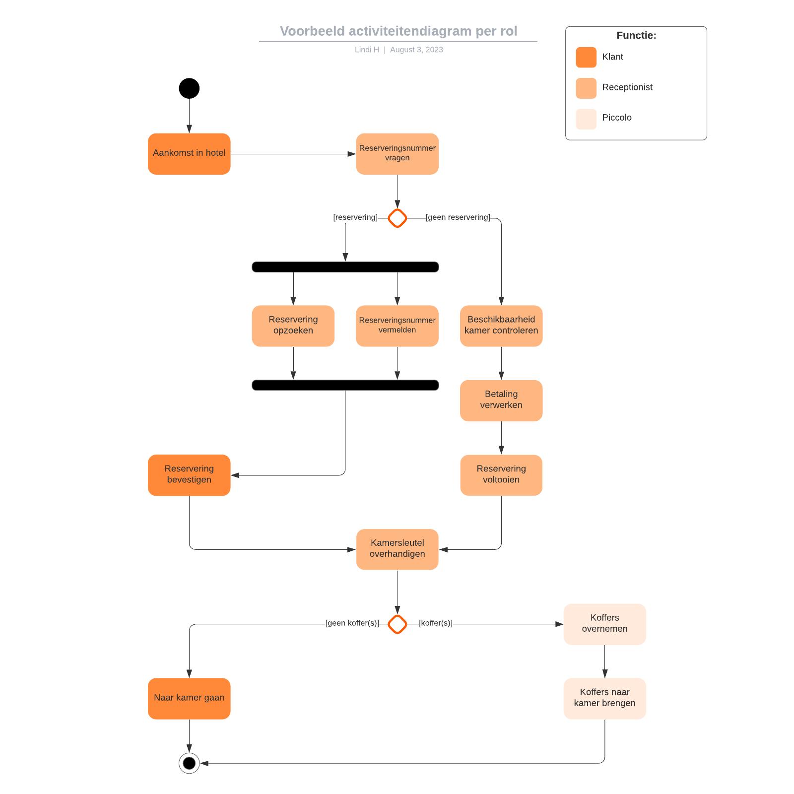 Voorbeeld activiteitendiagram per rol