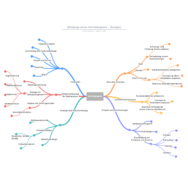 Mindmap eines Vertriebsplans– Beispiel