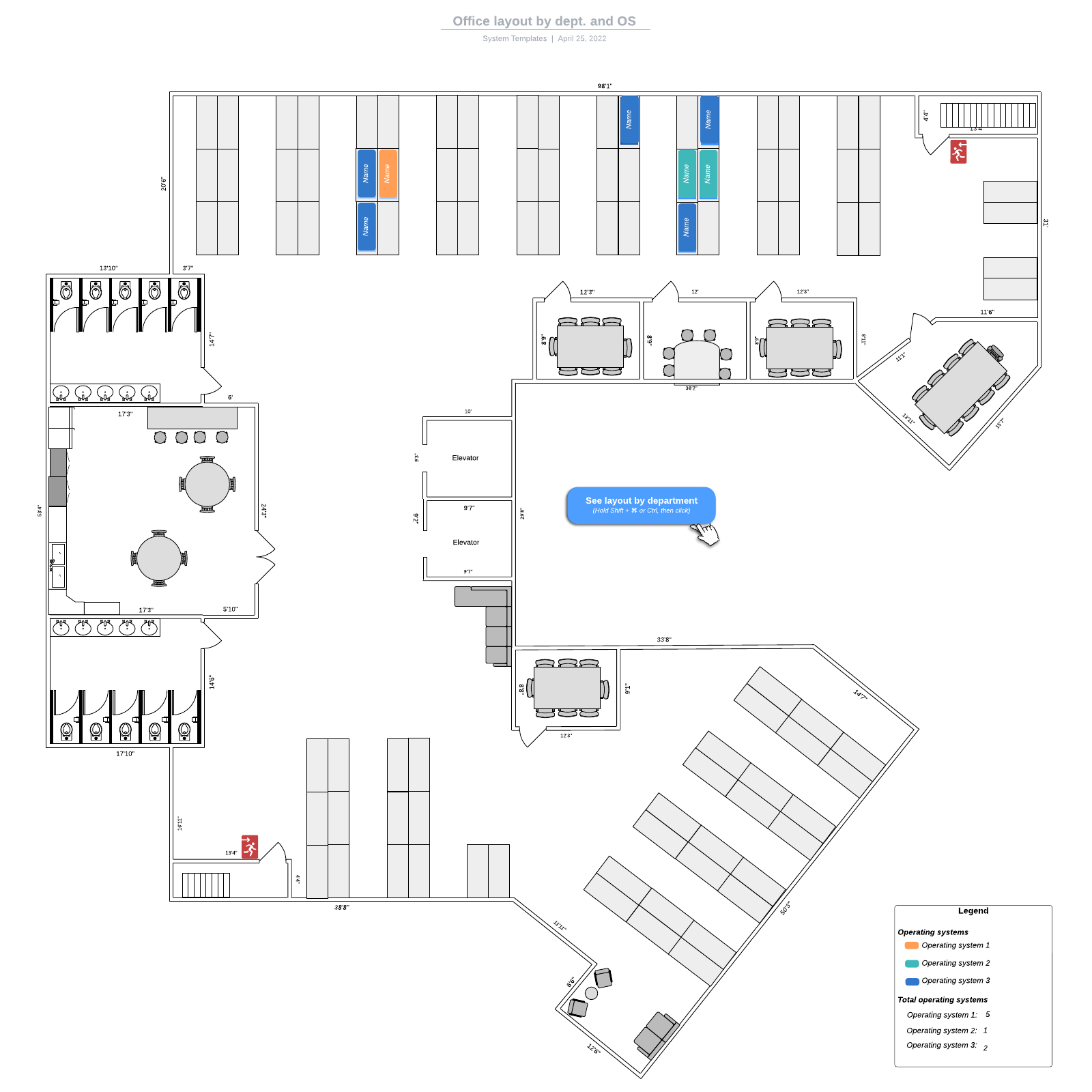 Office layout by dept. and OS