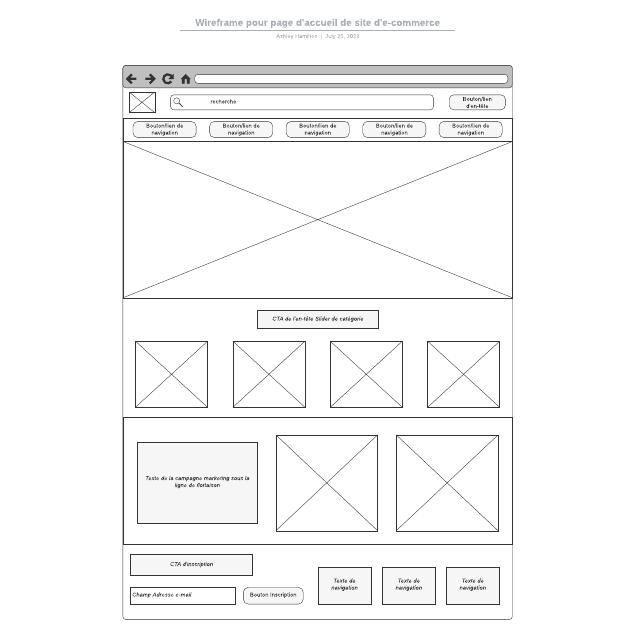 Wireframe pour page d'accueil de site d'e-commerce