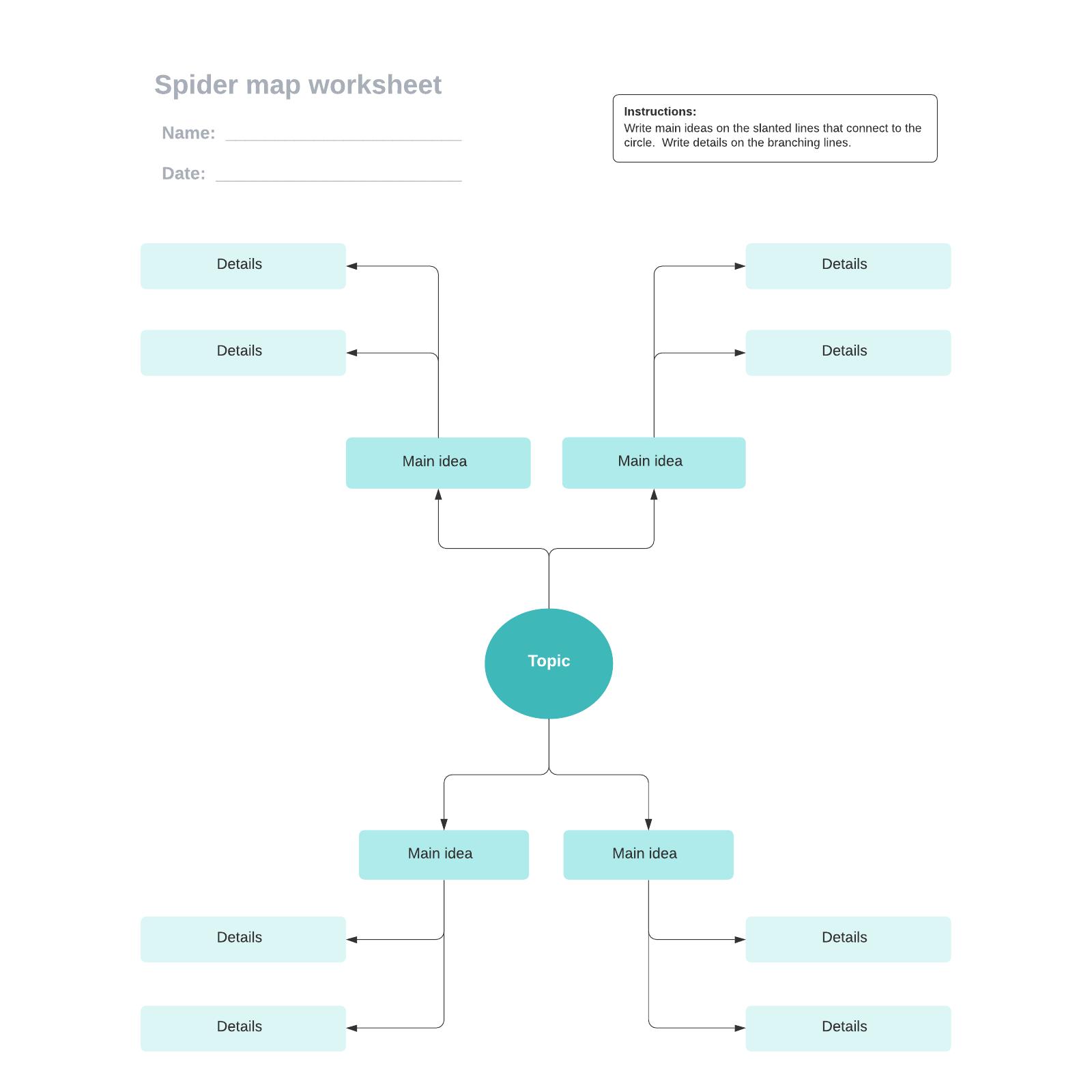 Spider map worksheet