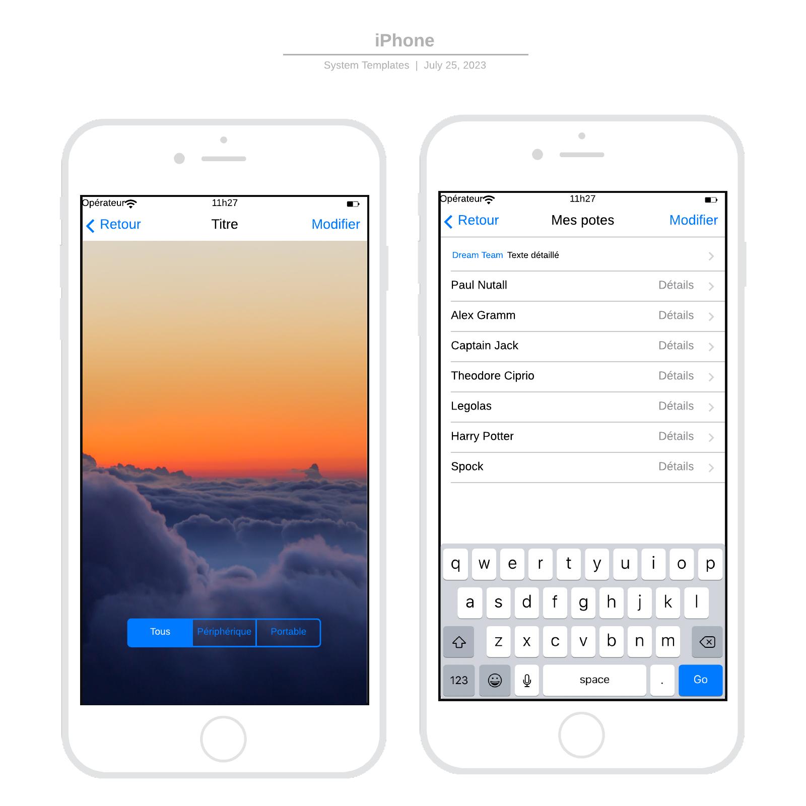 exemple de wireframe d'Iphone iOS