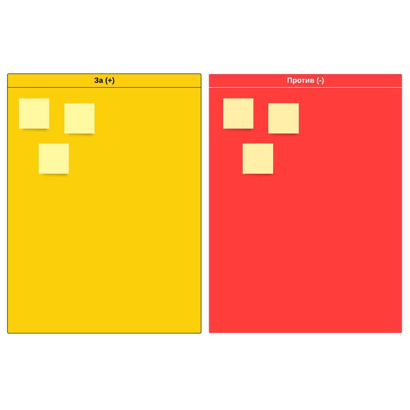 Шаблон списка «за» и «против»