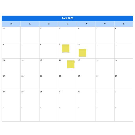 modèle de calendrier mensuel