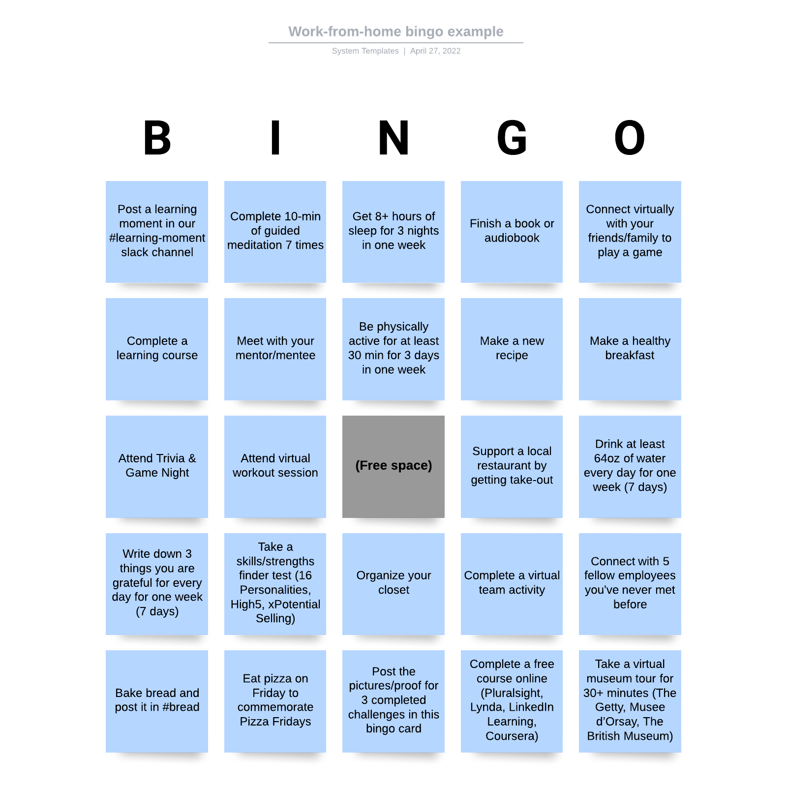Work-from-home bingo example