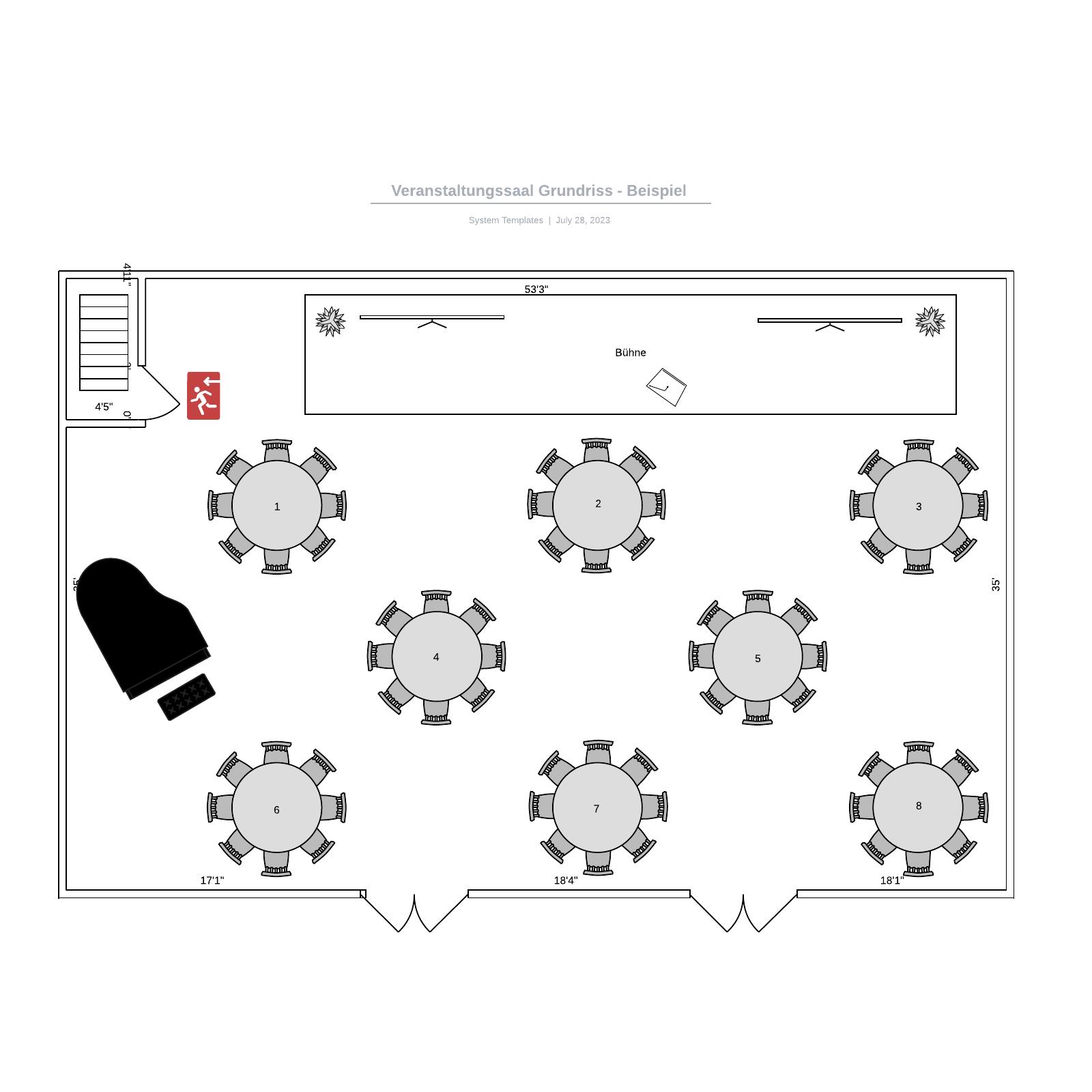 Veranstaltungssaal Grundriss - Beispiel