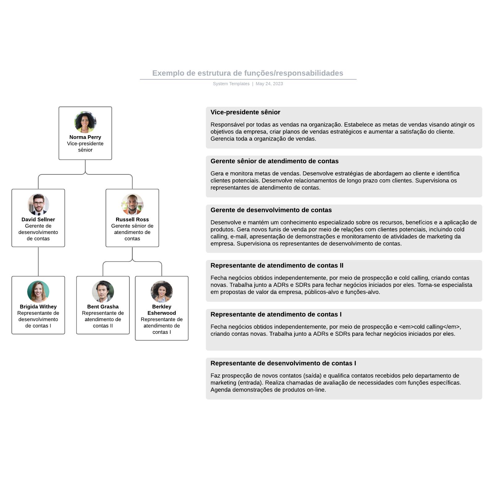 Exemplo de estrutura de funções/responsabilidades