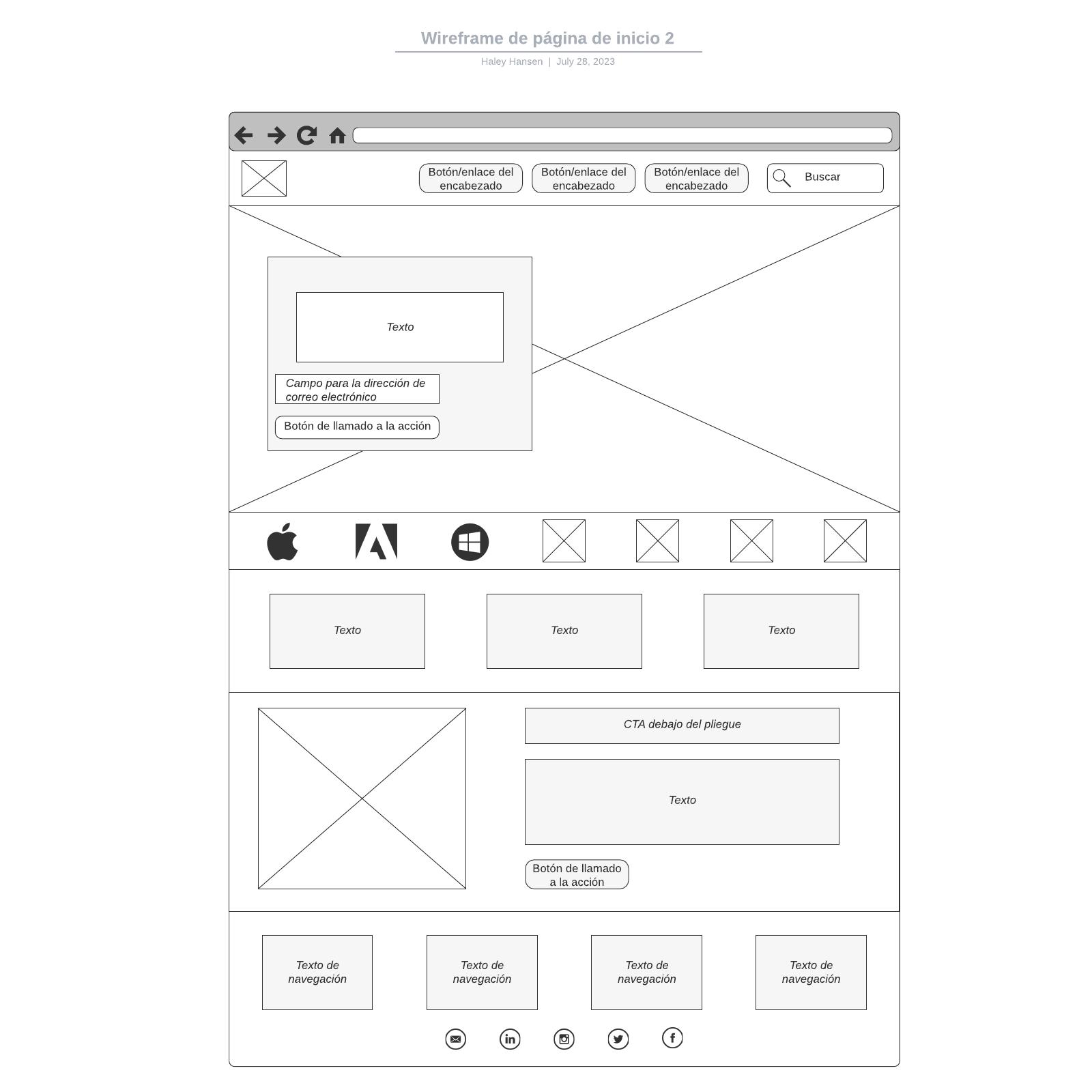 Wireframe de página de inicio 2