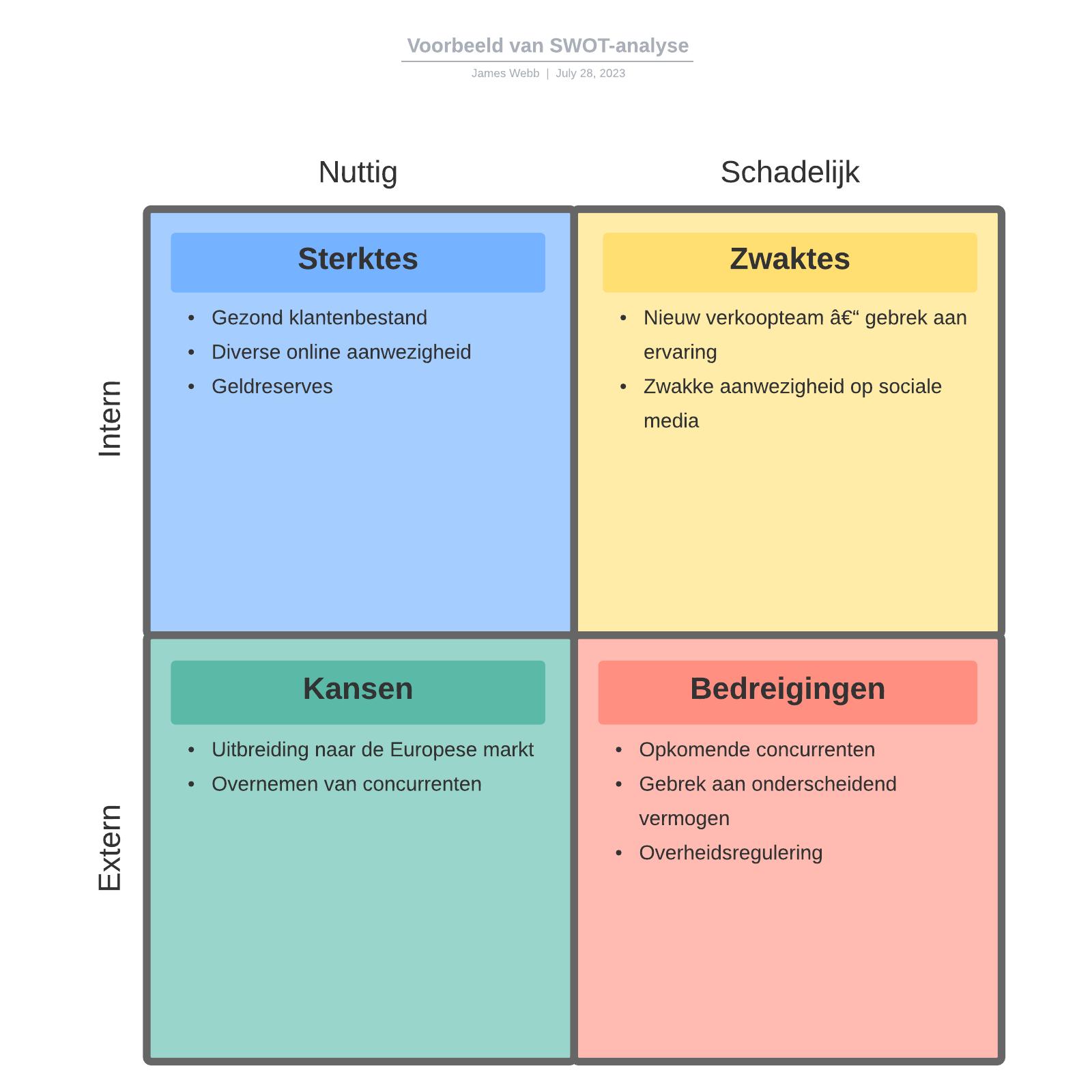 Voorbeeld van SWOT-analyse