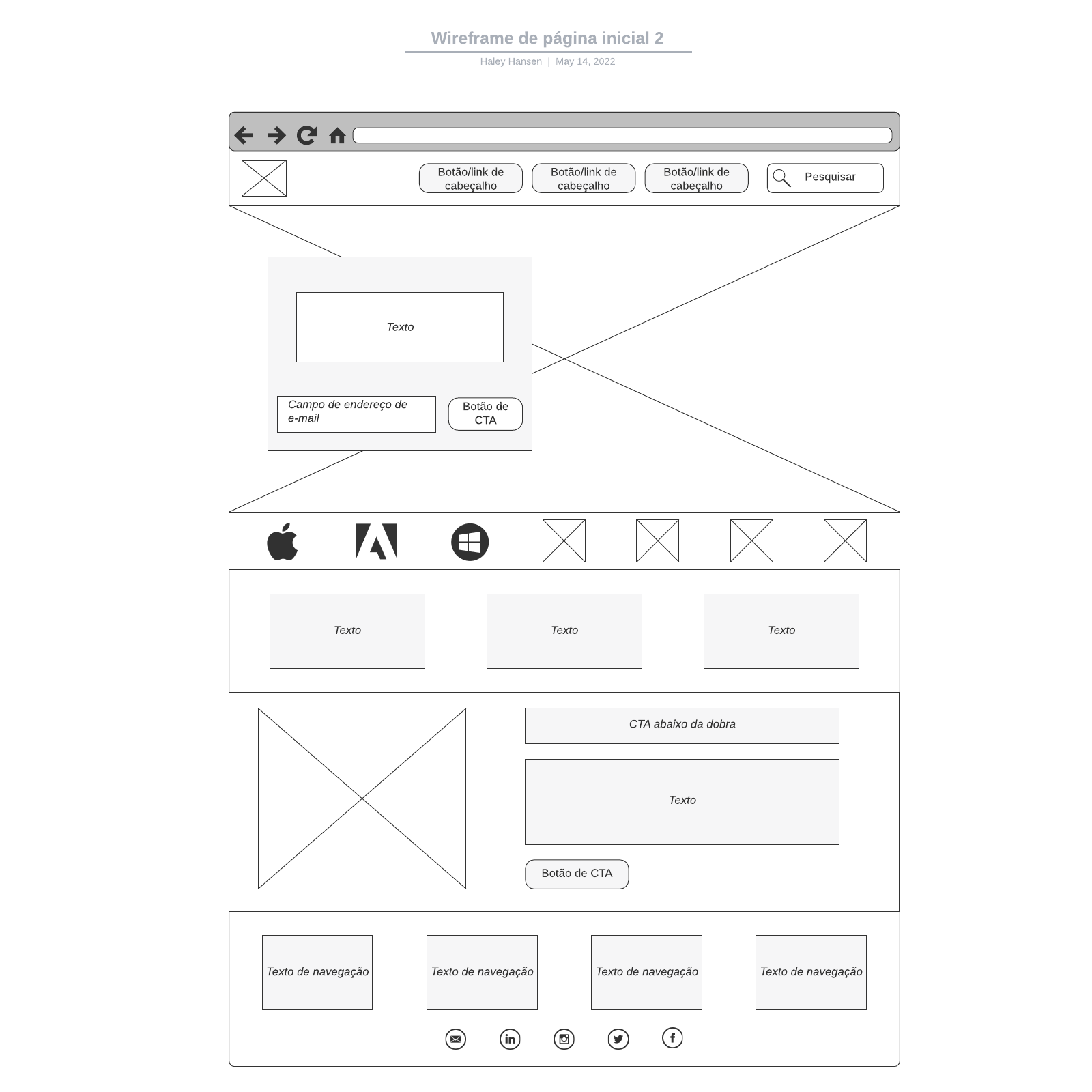 Wireframe de página inicial 2