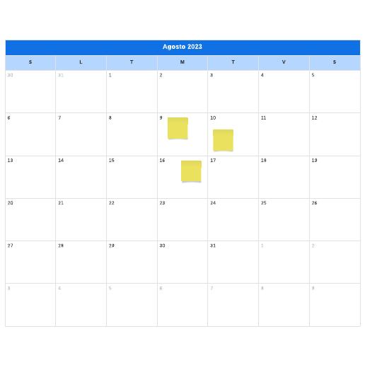 modello di calendario mensile