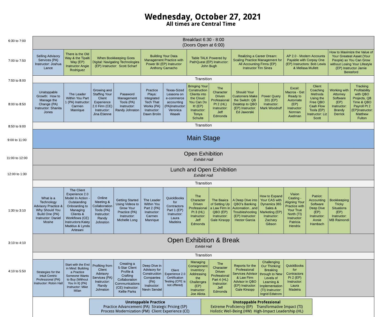 Spread sheet graphic laying out all classes for the day.